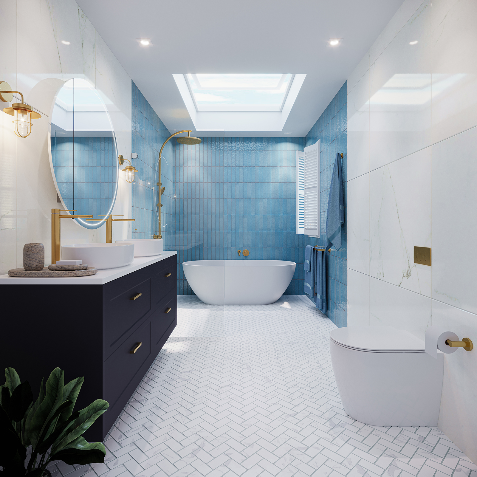 Beaumont Tiles Blue and White bathroom tiles